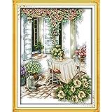 Punto de cruz Set Tarde del verano del punto de cruz kits de algodón ecológico estampado impreso 11CT DIY decoraciones de Navidad ( Color : F195 (1) , Cross Stitch Fabric CT number : 14CT printed )