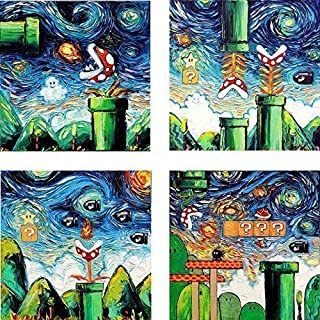 4 Print Set Video Game Wall Art Prints Retro Gaming Posters by Aja 8x8, 10x10, 12x12, 20x20, 24x24 inches Retro Gamer Decor