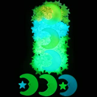 406 Pieces 3D Glowing Stars Stickers Set 400 Pieces Luminous Stars Stickers and 6 Pieces Moon Wall Decals for Nursery Kids...