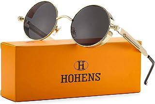 Sponsored Ad - Vintage Round Steampunk Sunglasses for Women Men Retro Hippie Style Sun Glasses Circle Metal Frame