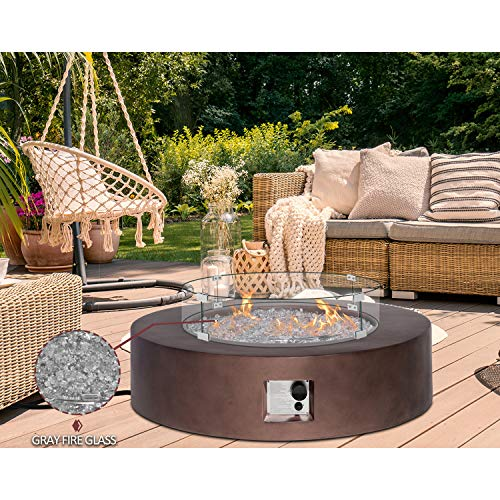HOMPUS Propane Patio Fire Pit Table with Wind Guard, Fire Glass and Rain Cover for Outdoor Leisure Party, 50,000 BTU 42-inch Round Bronze Concrete Fire Table