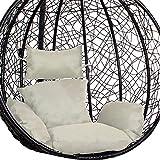 SPRINGOSR - Cojín para columpio, color gris, acolchado con reposacabezas, para silla colgante de polirratán, sillón colgante
