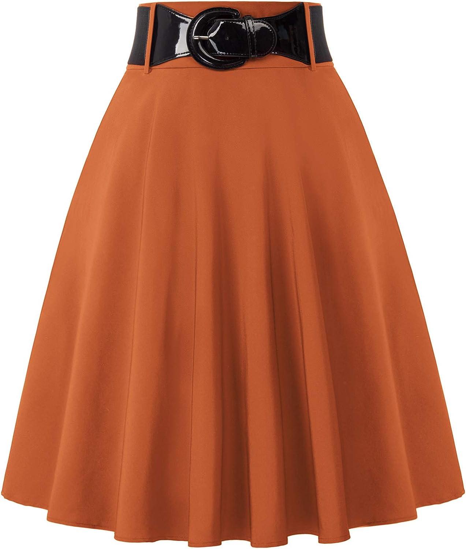 1950s Swing Skirt, Poodle Skirt, Pencil Skirts Belle Poque Womens High Waist A-Line Pockets Skirt Skater Flared Midi Skirt $24.99 AT vintagedancer.com