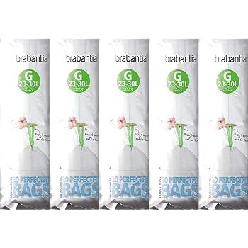 Brabantia 5paquets de 20 sacs poubelle - Taille G - Très résistants - Ajustement parfait - 23 - 30L
