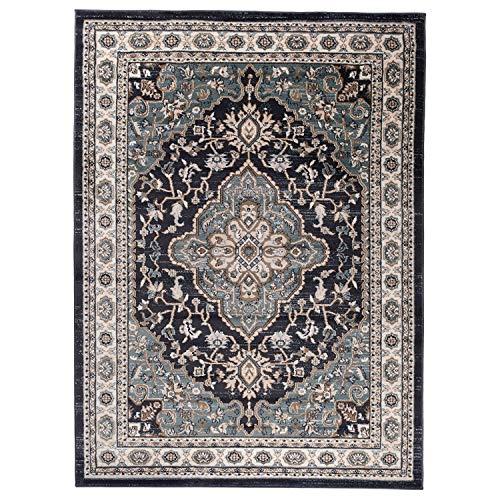 Carpeto Traditioneller Orientalischer Teppich - Kurzflor - Weicher Teppich Perser für Wohnzimmer Schlafzimmer Esszimmer - ÖKO-TEX Zertifiziert - AYLA - 60 x 100 cm - Schwarz