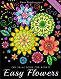 Easy Flowers Coloring Book for Adults: Black Background