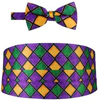Mardi Gras Windowpane Tuxedo Cummerbund and Bow Tie