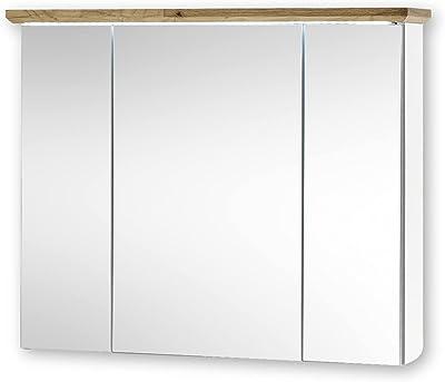 Stella Trading Toskana Miroir de Salle de Bain avec éclairage LED Aspect chêne Artisan Blanc – Style Maison de Campagne Armoire avec Beaucoup d'espace de Rangement, Bois d'ingénierie, 84 x 70 x 24 cm