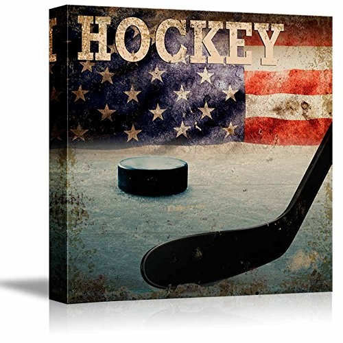 wall26 - Rustic Hockey - Stick and Puck Vintage Wood Grain - Canvas Art Home Decor - 12x12 inches