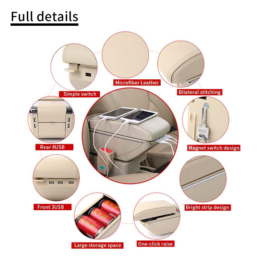 Caja de Almacenamiento Reposabrazos de Piel para Bora Golf 4 Consola Central con Cenicero & Portavasos & 7 Puertos USB Gris: Amazon.es: Coche y moto