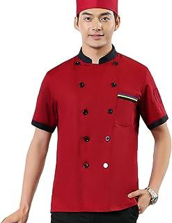 5ef68b36584 Dooxii Unisexo Mujeres Hombre Verano Manga Corta Camisa de Cocinero Moda  Transpirable Chaquetas de Chef Uniforme