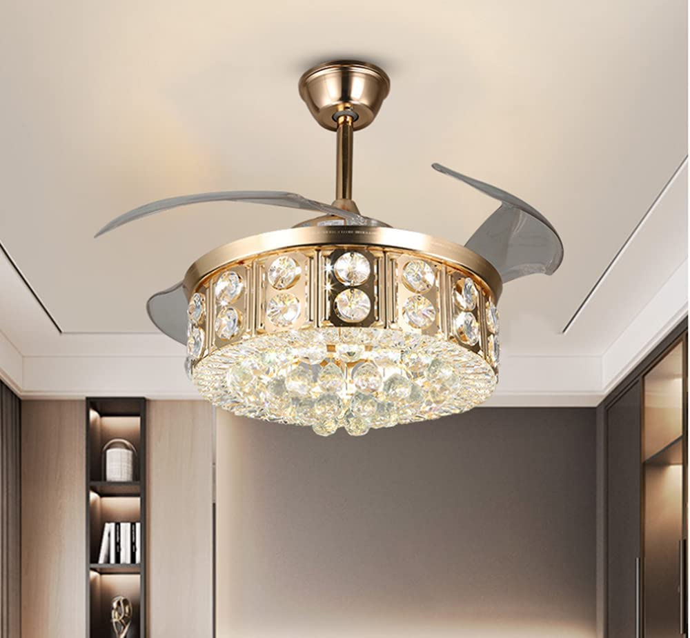 42 Inch LED Crystal Ceiling Fan with Light Recommended and Ce Remote Modern trend rank
