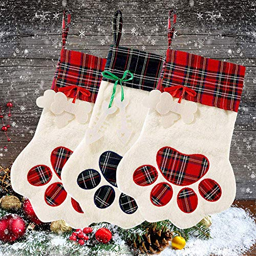 Sugaroom 2019 Pet Christmas Stockings Hanging Christmas Stocking with Picture Insert and Large Paw for Dogs Cats Xmas Christmas Decorations, 1 Pack
