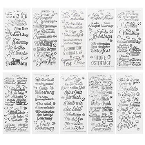 Gravur-Sticker, transparent/silber, 10 Bogen à 10 x 23 cm | Aufkleber zum Basteln & Dekorieren | Karten & Geschenke zu Geburtstag, Weihnachten, Rente & mehr (Wünsche & Gratulationen - silber)