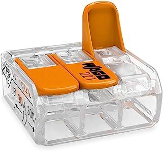 Wago 221-413 Borne de connexion 3 fils 0,2 à 4 mm² avec levier de commande, transparent modèle compact, Boite de 50
