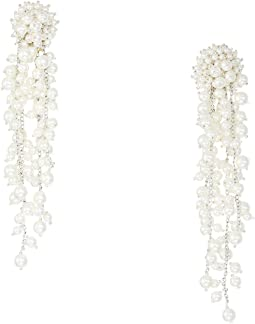 Runway Delicate Pearl Chain Drop C Earrings