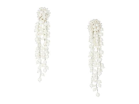 Oscar de la Renta Runway Delicate Pearl Chain Drop C Earrings