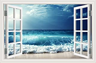 GreatHomeArt 3D Vinyl Wall Decals Beach Sea Wave Window Frame Style Wall Decor Art Removable Seascape Stickers Mural Poste...