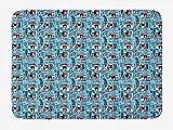 Abstrakte zeitgenössische Kunstgrafik, wiederholendes Grunge-Design, Himmelblau und Babyrosa Teppich