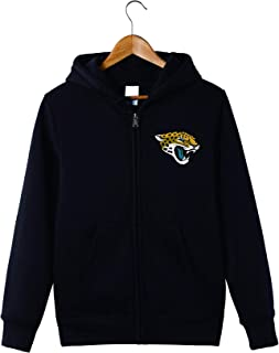 Men's Long Sleeve Hooded Letters Print Jacksonville Jaguars Football Team Solid Color Zipper Hoodies
