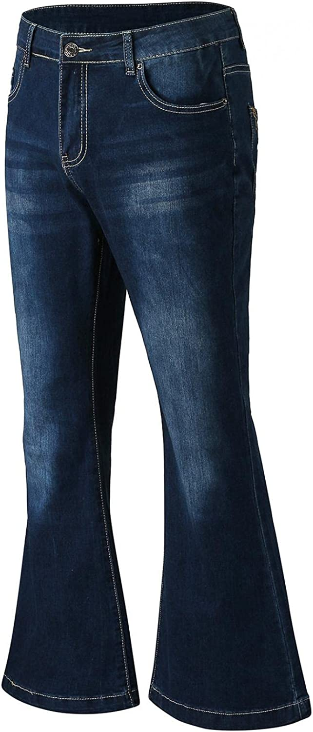 FUNEY Men's Bootcut Fit Jeans Vintage Punk Full Length Washed Relaxed Stretch Bell Bottom Flared Retro Wide Leg Denim Pants