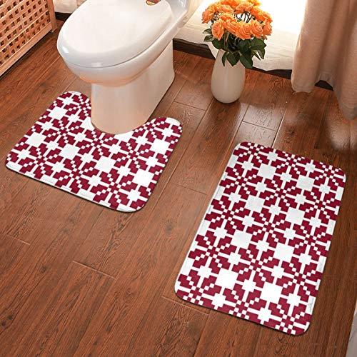 Rasyko Anti-Rutsch-Pad im Badezimmer Rotes lettisches Saulite-Sonnenmotiv 2-teiliges Badteppich-Set Flache Badematten aus weichem Komfort mit konturiertem Toiletten-Teppich in U-Form für Badezimmer