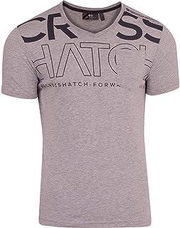 New Mens Crosshatch Tee Shirt Crew Neck Contrast Designer Print TShirt Top S-XXL