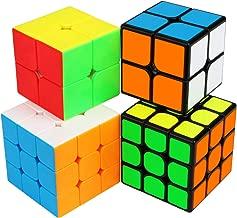 Speed Cube Bundle, Aitbay Magic Cube Set 2x2 3x3 Stickerless & Sticker Cube Speedcubing Smooth Puzzle Game Toy Brain Teaser Gift (4 Pack)