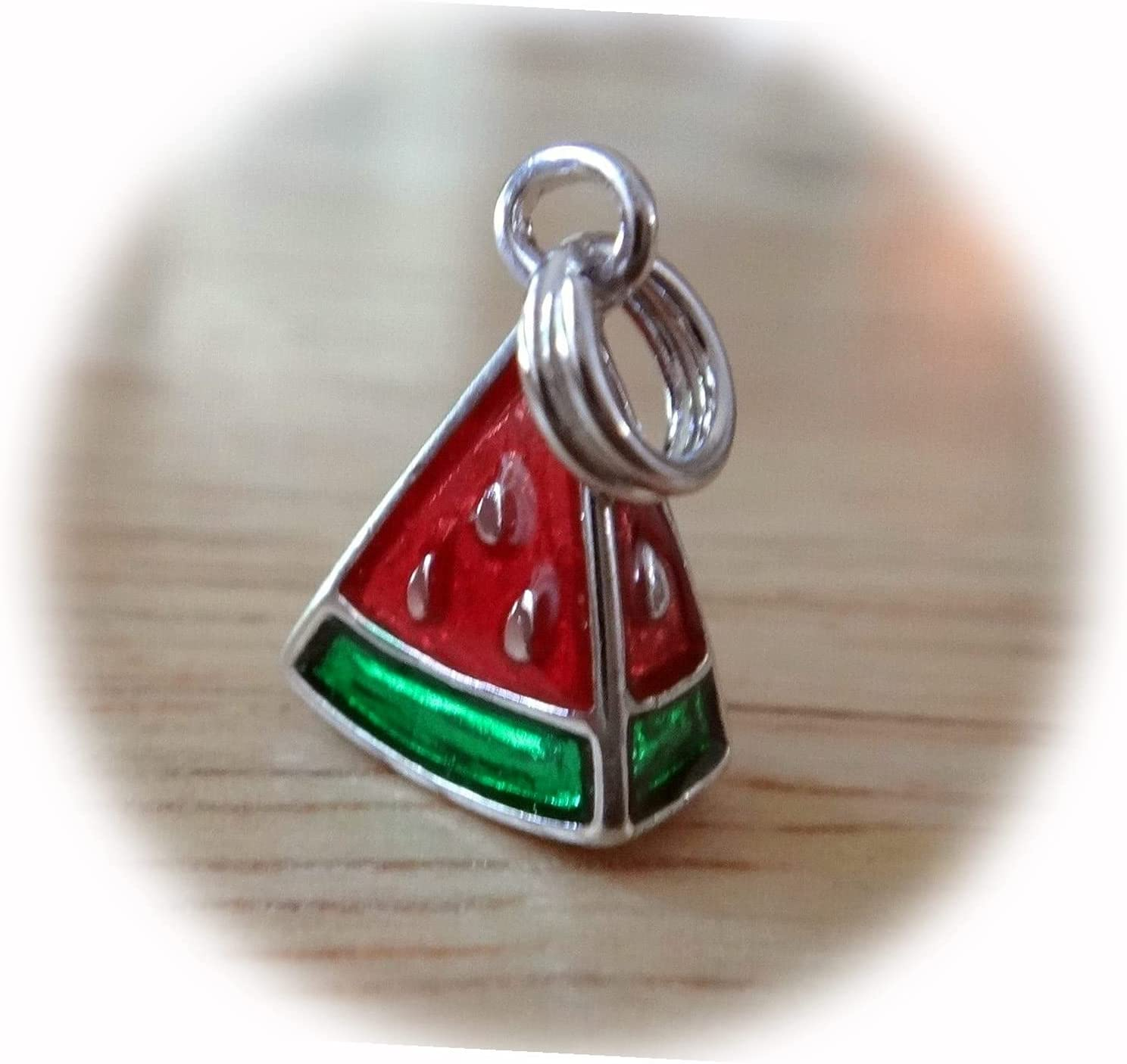 New 9x14mm 3D Pinkish Red Enamel Sterling Green Recommended Watermelon 4 years warranty Sil