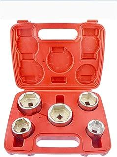 Makaili Oil Canister Socket Service Kit, 5PCS 3/8-Inch Drive Oil Filter Socket Kit, Metric 24mm, 27mm, 32mm, 36mm, 38mm (Silver)