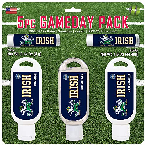 Worthy Promo NCAA Notre Dame Fighting Irish 5-Piece Game Day Pack with 2 Lip Balms, 1 Hand Lotion, 1 Hand Sanitizer, 1 SPF 30 Sport Sunscreen, White, 8 x 8 x 1.5-Inch