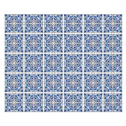 Gwotfy 30 Pezzi Adesivi per Piastrelle(10 x 10cm), PVC Tile Style Decals, Autoadesivo Antiolio Decorazione Murale, Adesivi Pavimento per Bagno Cucina Parete Fai da Te