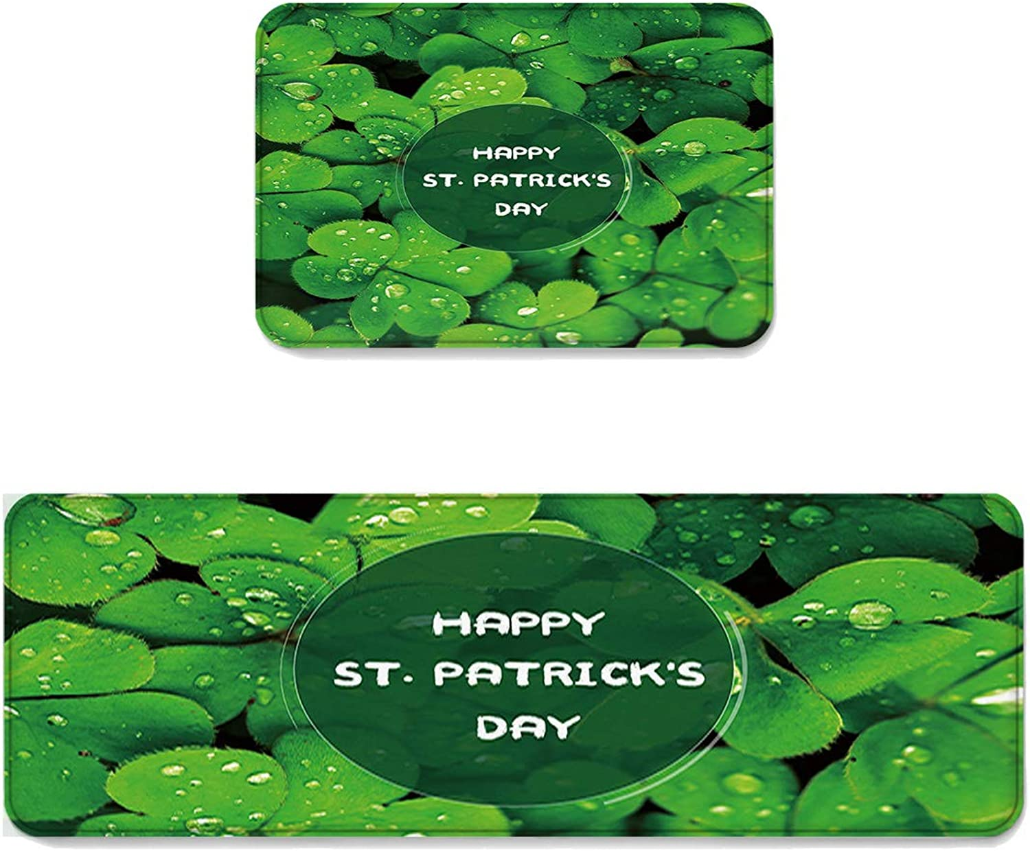 Kitchen Rug Sets 2 Piece Floor Mats Non-Slip Rubber Backing Area Rugs Happy St Patrick's Day Dew on The Shamrock Doormat Washable Carpet Inside Door Mat Pad Sets (19.7  x 31.5 +19.7  x 47.2 )