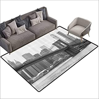 Anti-Slip Outdoor Rugs Apartment Decor,Photo of The Brooklyn Bridge Over East River and Tall Buildings Skylines at The Back,Grey White 60