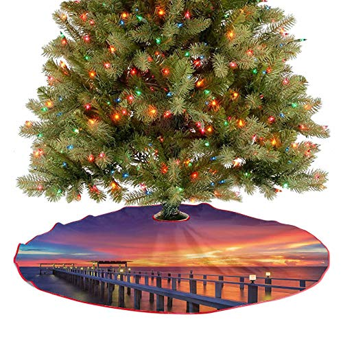 Tree Skirt Wooden Bridge in The Port at Sunrise Horizon Candle Light Romantic Image Christmas Decoration for Christmas Decorations Indoor Outdoor - 48 Inch