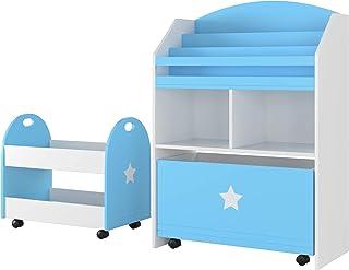 Homfa Lot de 2 Bibliothèque pour Enfants et Chariot Coffre de Rangement avec Roues pour Chambre d'Enfant Crèche en Bois (B...