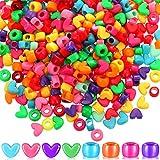 500 Pieces Heart Pony Beads Barrel Shape Pony Beads Set Large Hole Multi-Color Acrylic Beads Bracelet Kawaii Rainbow Necklace Bead Craft Beads for Christmas Valentine's Giving DIY Jewelry Making