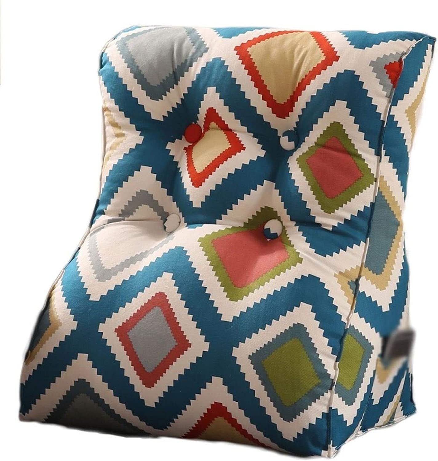 Thick Thick Removable and Easy to Clean Cotton Canvas Triangle Three-Dimensional Cushion Waist Neck Large Cushion Bed (color   bluee, Size   45  30  55CM)