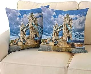 London,Custom Zippered Pillow Case Historical Tower Bridge on River London UK British Day Time International Heritage 14