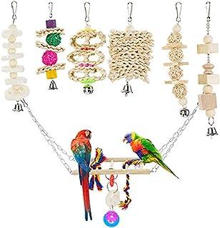 Locisne 7 Pack Oiseaux Perroquets Cage Jouets, Bois Suspendu Cloche Swing Déchiquetage Cheches Perches Perroquet Jouet Per...