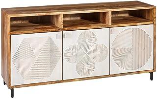 Aparador Tallado de Madera Natural Blanco Moderno para salón Vitta - LOLAhome