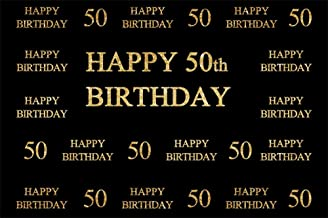 LFEEY 9x6ft Father Mother 50th Birthday Photo Backdrop Custom Adults Men Woman Happy Fift ieth Bday Party Celebration Black Photography Background Wallpaper Photo Studio Props