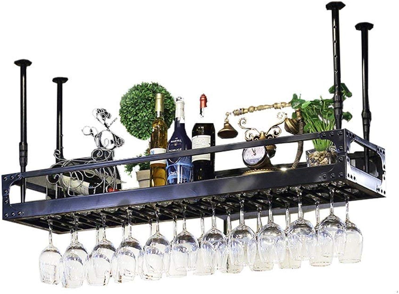 Red Wine Shelf Wine Cabinet Double Tiers Bars High-end Hanging Wine Bottles Holder KTV Creative Ceiling Cups Wine Glass Goblet Holder Stand Rack Metal Steel Storage Frame,L60-150cm Home Bar Furniture