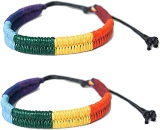 exoticdream Friendship Rainbow Cord Bracelet Plaided Hippie Cotton Braided Gay Pride Wristband