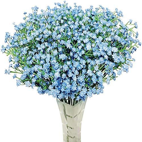 yueyue947 / 12 Piezas Respiración del bebé Gypsophila Flores Artificiales Ramos Fake Real Touch Flowers para el Banquete de Boda Decoración DIY Decoración para el hogar Azul Claro