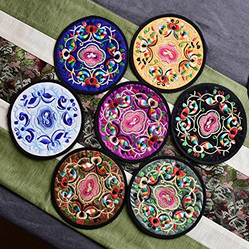 12 Pcs Embroidery Cloth Fabric Coasters for Drinks Vintage Ethnic Floral Design Cup Mat Absorbent Coaster (Mixed Colors)