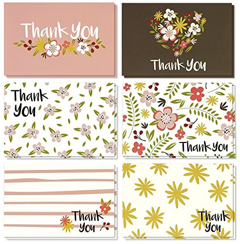 Thank You Cards Bulk - 48-Pack Thank You Cards, 6 Feminine Floral designs, Thank You Notes, Envelopes Included, 4 x 6 Inches
