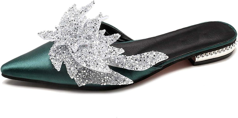 Luxury Green Black Satin Women Slippers Spring Low-Heel Shining Crystal poi,