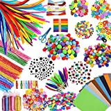 INFLORAL 1600+ Set Easter Arts and Crafts Supplies for Kids - Craft Accessories for Toddlers Googly Eyes Pipe Cleaners Poms Feathers Buttons Sequins for School Projects DIY Ages 4 5 6 7 8 9 10