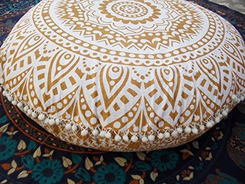 Traditional Jaipur Bodenkissen, Mandala-Bodenkissen, groß, dekoratives Kissen, 32 Zoll runde Kissenbezüge, Boho-Kissenbezüge, indisches Kissen